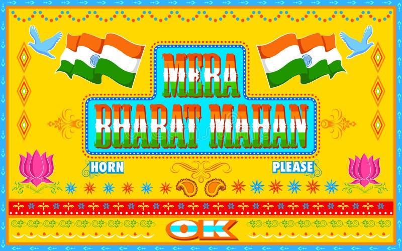 Mera Bharat Mahan i lastbilmålarfärgstil stock illustrationer