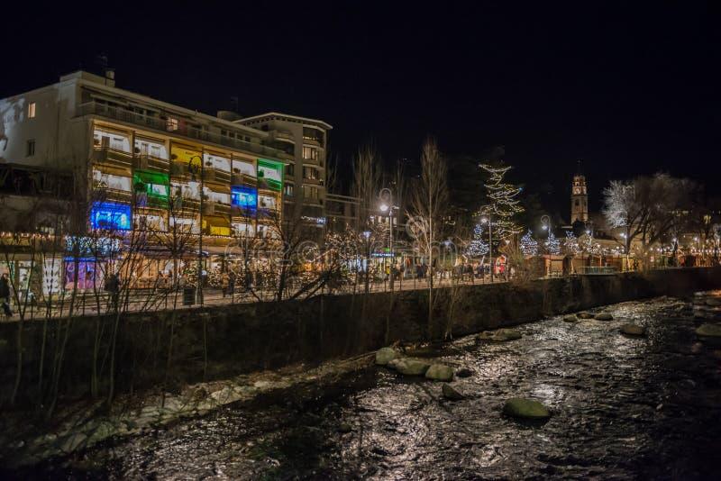 Merano bis zum Nacht, Trentino, Italien stockbilder