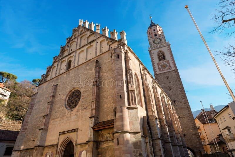 Merano Italien - Kathedrale von San Nicolo stockbild