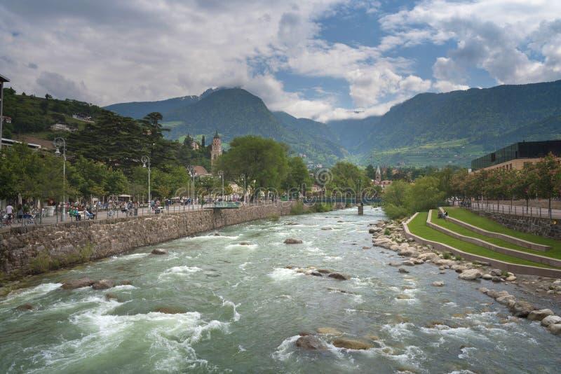 Merano in Süd-Tirol, eine schöne Stadt von Trentino Alto Adige lizenzfreie stockfotos