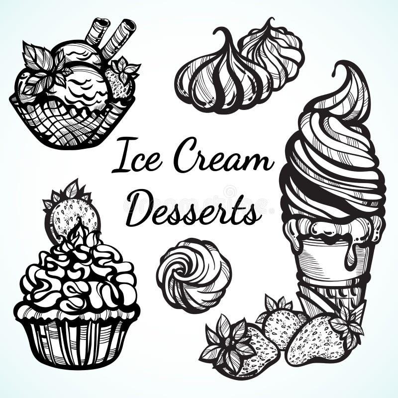 Meravigliosamente raccolta disegnata a mano dei dessert alla panna del ghiaccio Icone del grafico di vettore, elementi d'annata d illustrazione di stock
