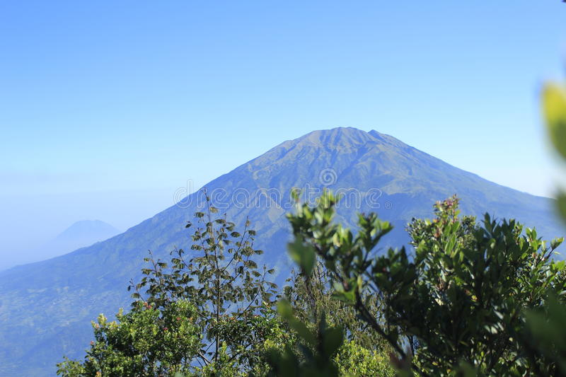 Merbabu mountain from Mt. Merapi royalty free stock image