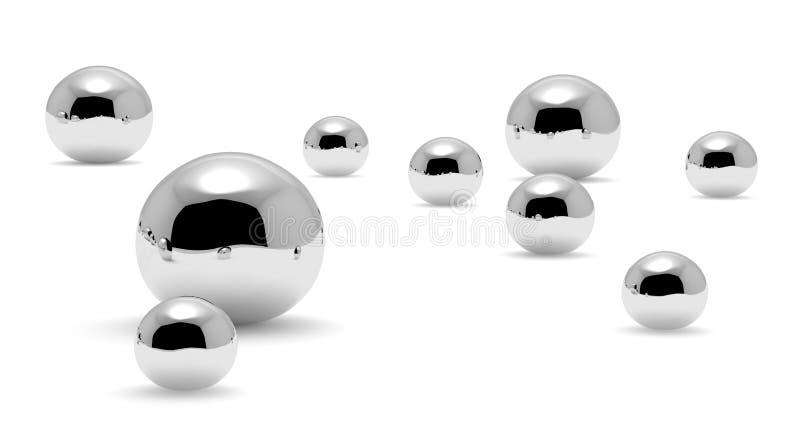 Mercúrio pequeno & x28; Hg& x29; o metal deixa cair o close up ilustração stock