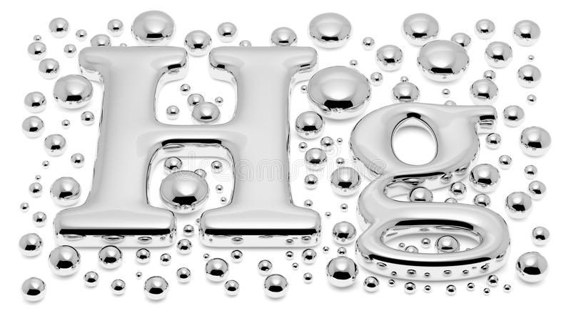 Mercúrio pequeno & x28; Hg& x29; sinal do metal com gotas do mercúrio ilustração do vetor