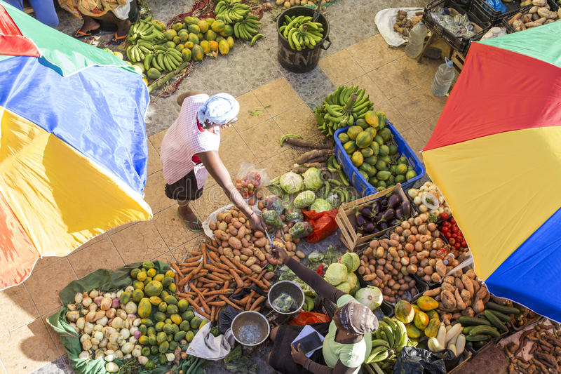 Mercado africano, Assomada, Santiago Island, imagen de archivo