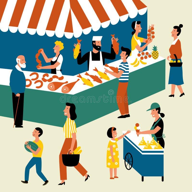 Mercado al aire libre estacional, festival de la comida de la calle Compradores y vendedores en mercado Ejemplo plano del vector  ilustración del vector