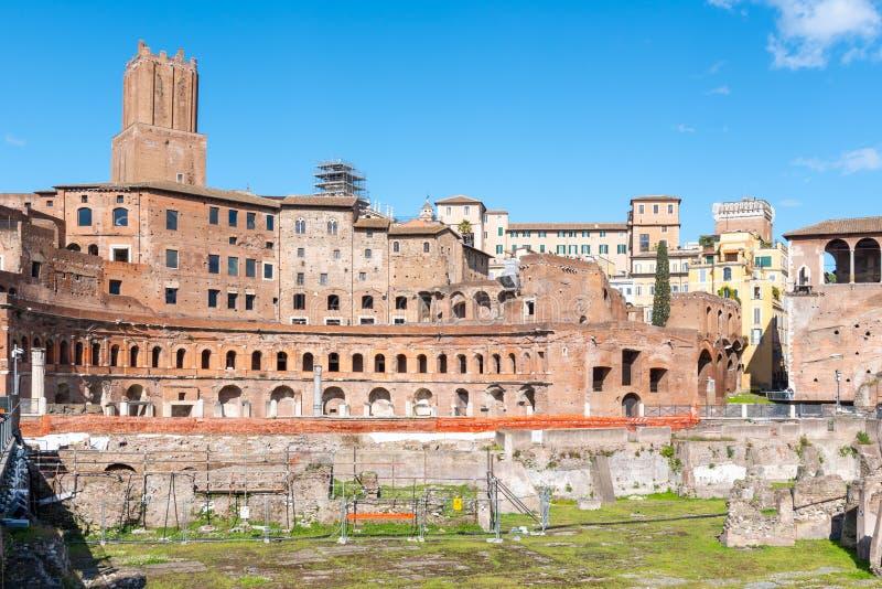 Mercado antigo do od Trajans das constru??es, italiano: Mercati di Traiano - o primeiro shopping romano, Roma, It?lia imagem de stock royalty free