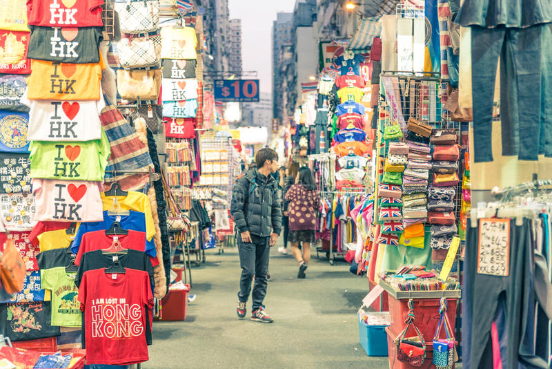 Mercado callejero del templo, Hong Kong fotos de archivo libres de regalías