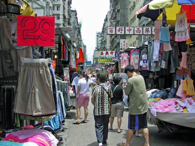 Mercado callejero en Mong Kok, Hong Kong imagen de archivo