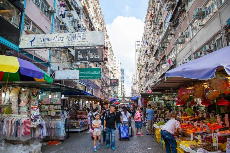 Mercado callejero en Mong Kok, Hong Kong foto de archivo