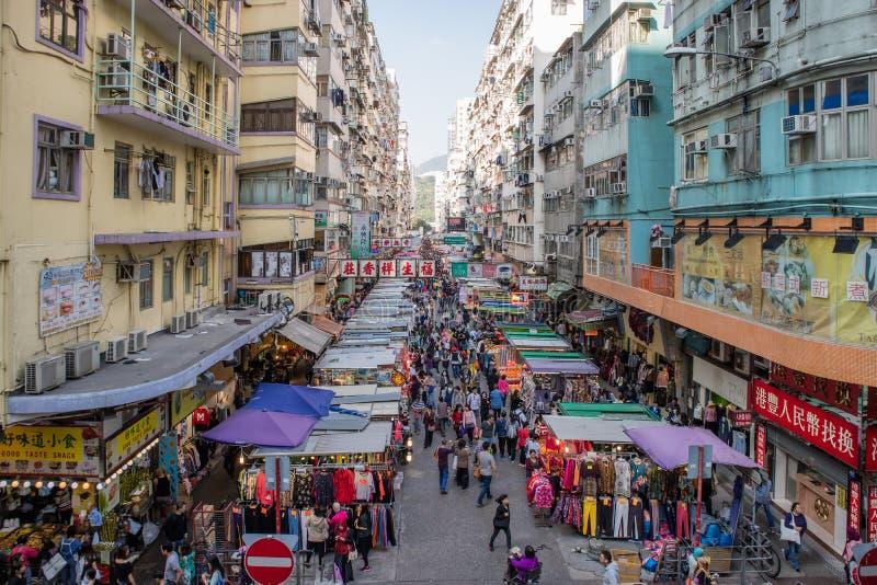 Mercado callejero tradicional del Fa Yuen en Hong Kong imagen de archivo libre de regalías