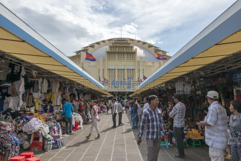 Mercado central de Phsar Thmei, Phnom Penh foto de archivo libre de regalías