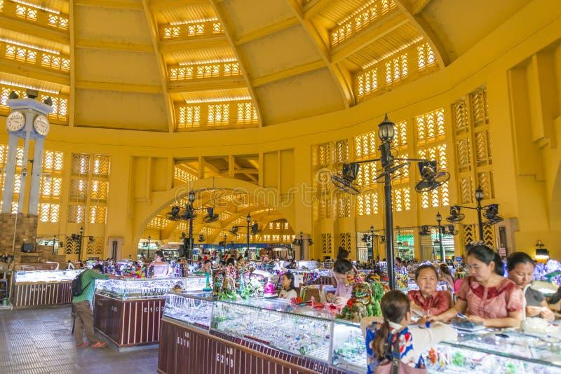 Mercado central de Phsar Thmei, Phnom Penh imagen de archivo