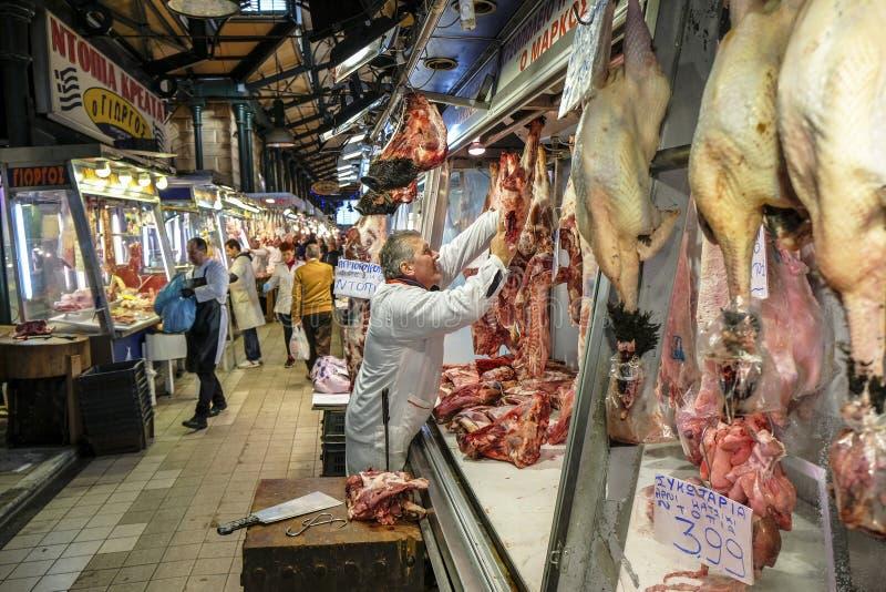 Mercado central em Atenas, Grécia fotos de stock