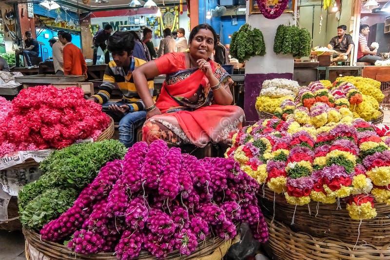 Mercado central em Bangalore, Índia fotos de stock royalty free