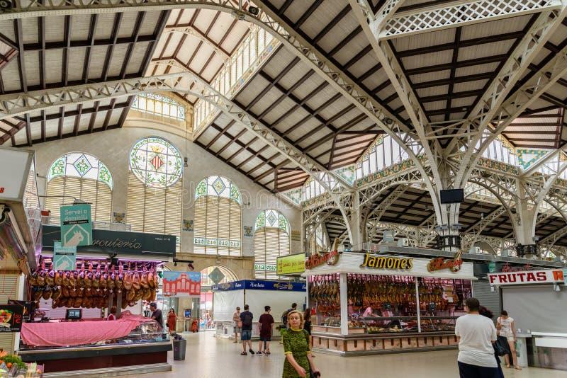 Mercado Central or Mercat Central (Central Market) In Valencia. VALENCIA, SPAIN - JULY 20, 2016: From 1928 Mercado Central or Mercat Central (Central Market) is stock photography