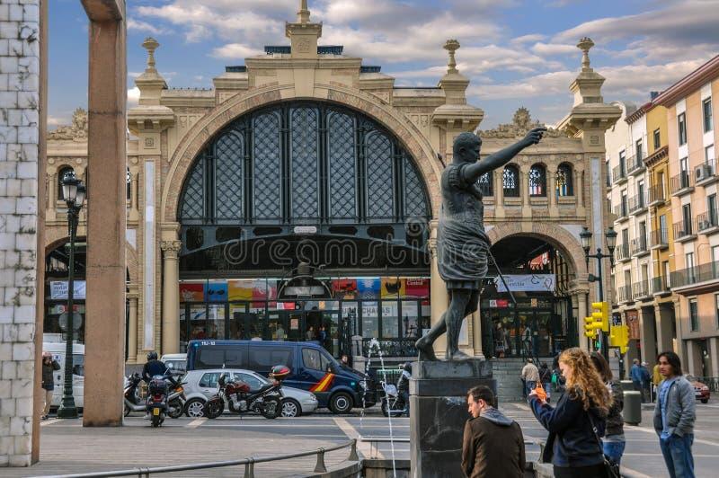 Mercado centrala jest sławnym rynkiem w Saragossa, Hiszpania obraz royalty free