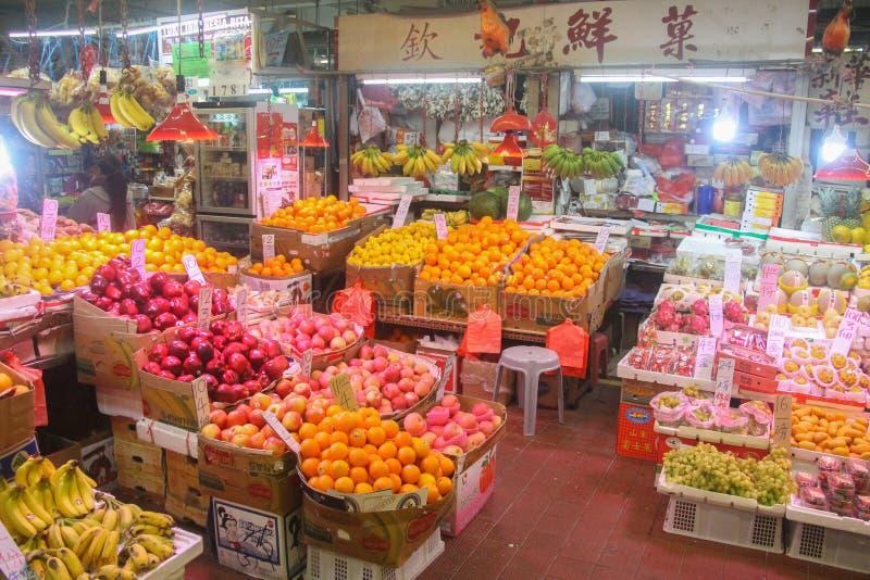 Mercado chinês do alimento com fruto fresco colorido foto de stock royalty free