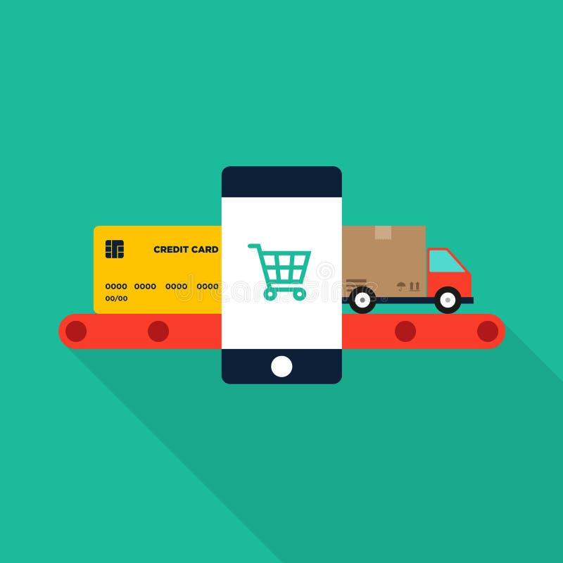 Mercado, comércio eletrônico e compra móveis em linha, negócio ilustração royalty free
