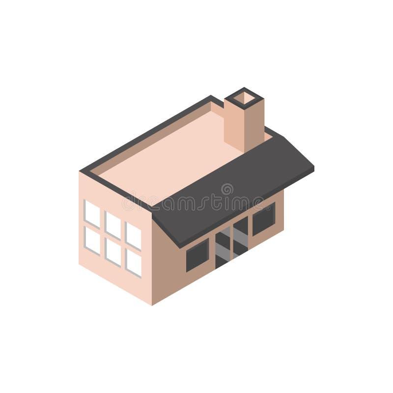 Mercado comercial com a construção de chaminés de forma isométrica ilustração do vetor