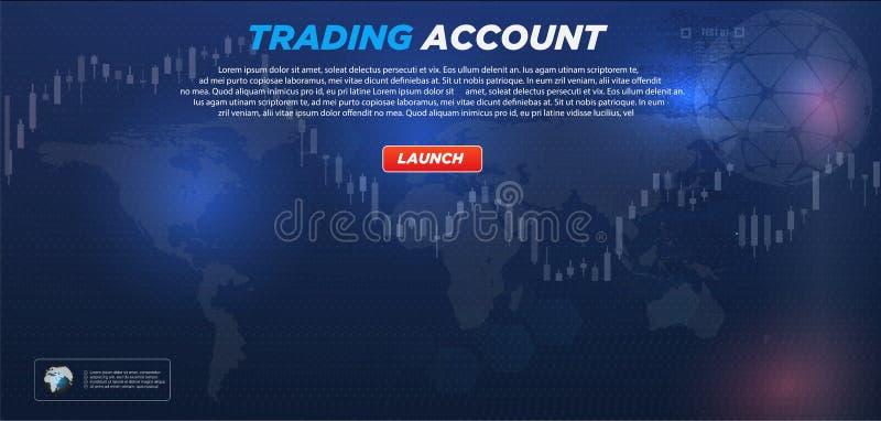 Mercado comercial Opción binaria Gráfico virtual abstracto HUD UI para el negocio app Interfaz de usuario futurista ilustración del vector