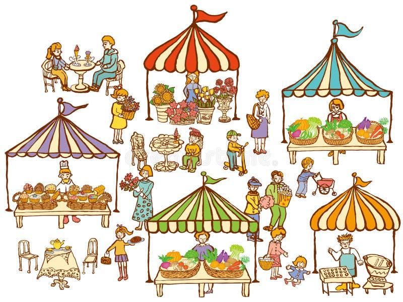 Mercado con los soportes de la comida y de las verduras stock de ilustración