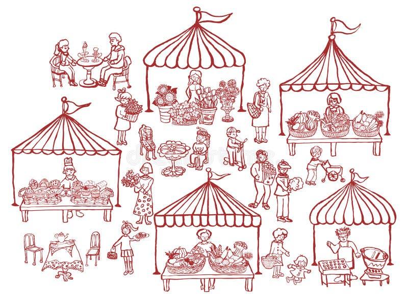 Mercado con los soportes de la comida y de las verduras ilustración del vector