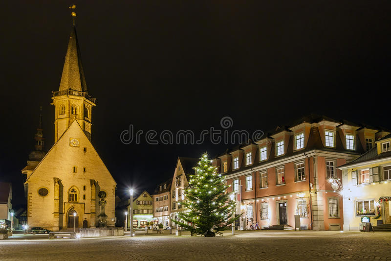 Mercado da cidade histórica de Weikersheim, Baden-Wurttembe foto de stock