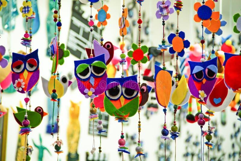 Mercado da coruja de feltro fotografia de stock royalty free