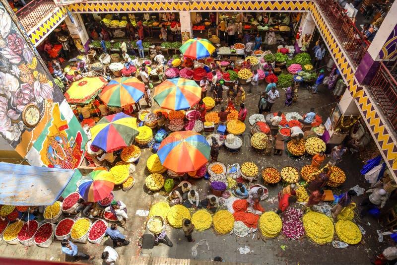 Mercado da flor do KR, Bangalore, Índia imagens de stock