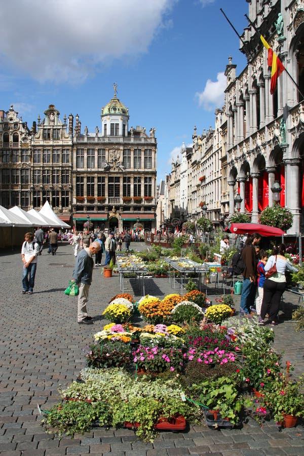 Mercado da flor em Bruxelas foto de stock