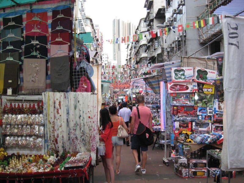 Mercado da noite da rua do templo, Jordânia, Kowloon, Hong Kong fotografia de stock