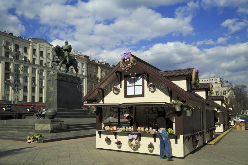 Mercado da Páscoa no centro de Moscou Rússia imagens de stock royalty free