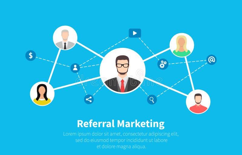 Mercado da referência, mercado da rede, parceria do negócio, estratégia do programa da referência Projeto liso dos desenhos anima ilustração do vetor