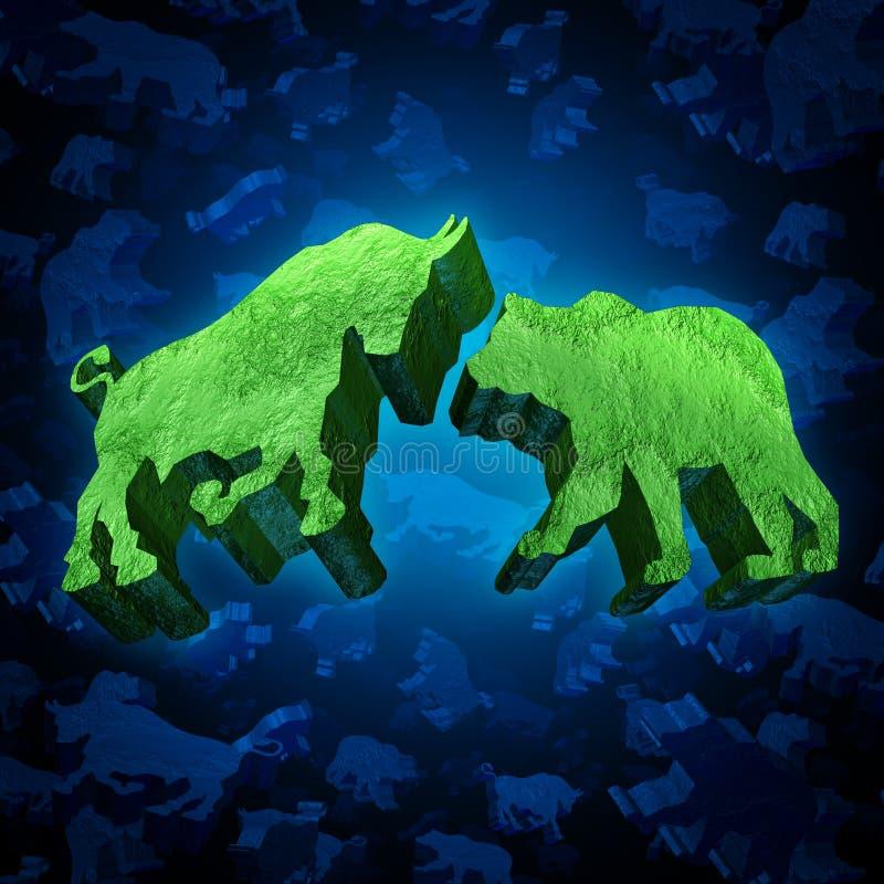 Mercado de acción Bull y oso stock de ilustración