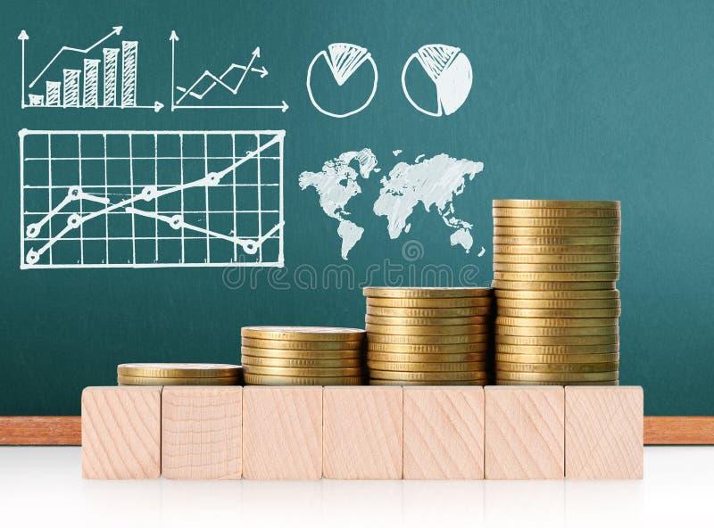 Mercado de acción del gráfico de las monedas fotos de archivo libres de regalías