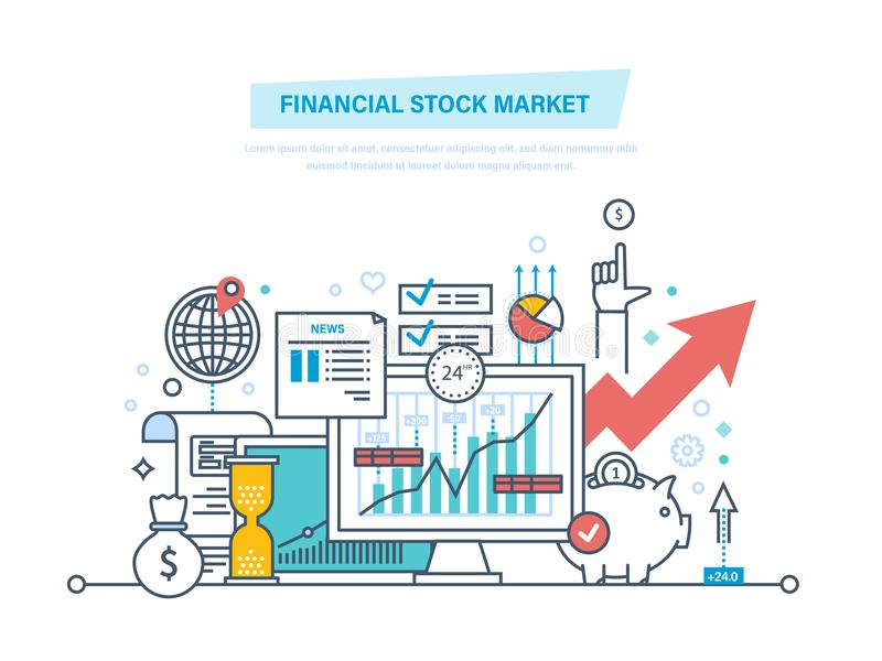 Mercado de acción financiero Mercados de capitales, comercio, comercio electrónico, inversiones, finanzas ilustración del vector