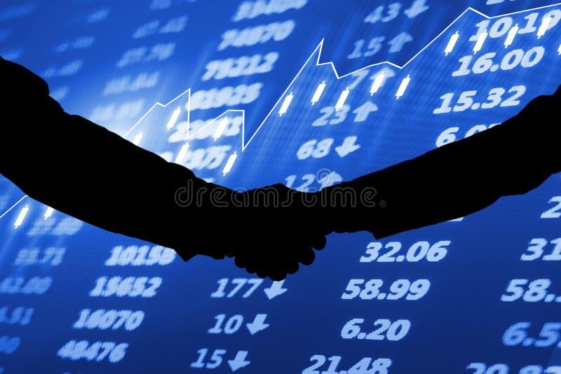 Mercado de acción de la colaboración, carta del mercado de acción y datos financieros fotografía de archivo libre de regalías