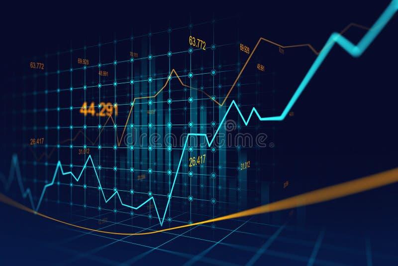 Mercado de acción o gráfico comercial de las divisas en concepto gráfico ilustración del vector