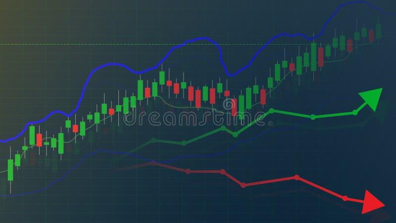 Mercado de acción o gráfico y carta comercial de las divisas, mercado y financiero ilustración del vector