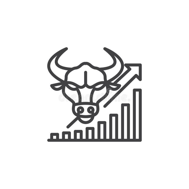 Mercado de acción que va para arriba línea icono, muestra del vector del esquema, pictograma linear aislado en blanco ilustración del vector