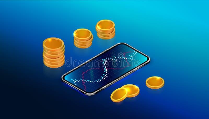 Mercado de bolsa de acción o concepto de la rentabilidad de la inversión con el app móvil Carta comercial de las divisas con smar libre illustration