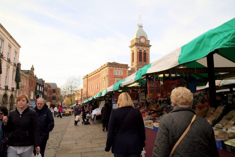 Mercado de Chesterfield, Derbyshire fotografia de stock