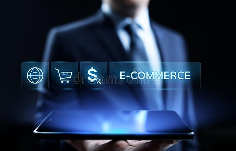 Mercado de Digitas do comércio eletrônico e conceito de compra em linha da tecnologia do negócio das vendas imagem de stock