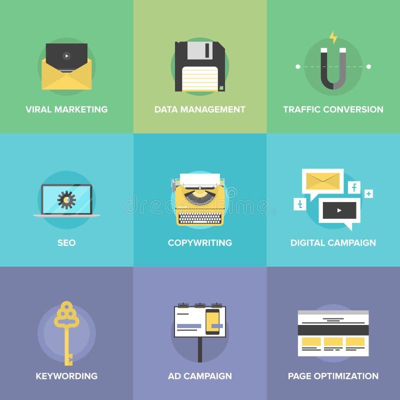 Mercado de Digitas e ícones lisos da otimização da Web ilustração do vetor