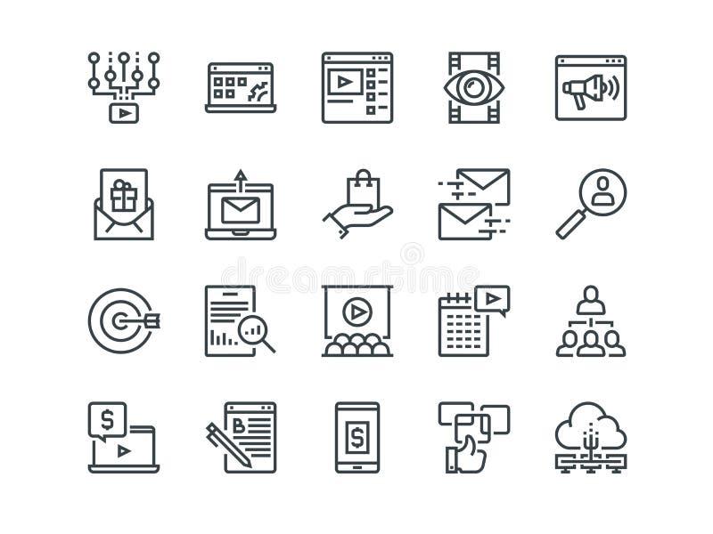 Mercado de Digitas Grupo de ícones do vetor do esboço Inclui como o vídeo viral, o comércio eletrônico, a analítica e a outro edi ilustração royalty free