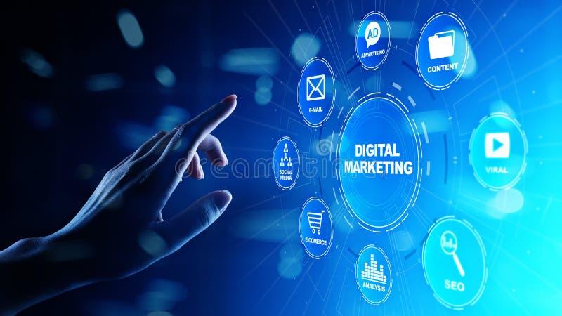 Mercado de Digitas, publicidade online, SEO, SEM, SMM Negócio e conceito do Internet imagem de stock