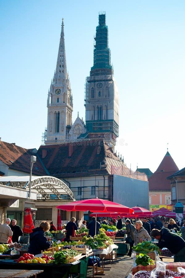 Mercado de Dolac imagem de stock royalty free