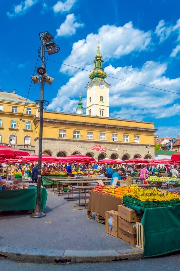 Mercado de Dolac em Zagreb imagem de stock