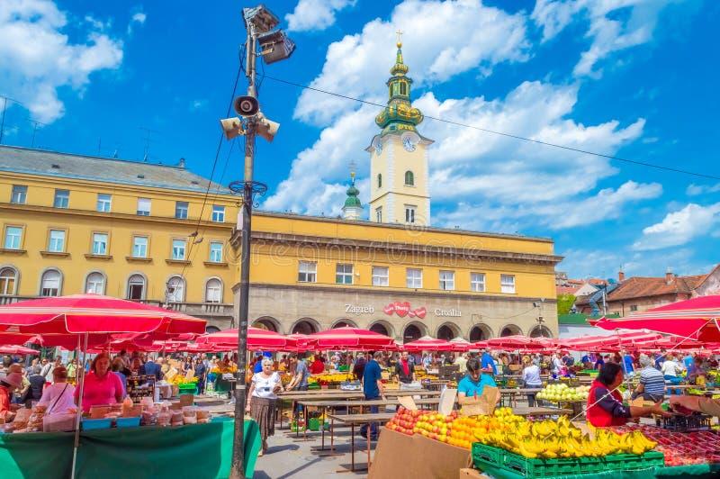 Mercado de Dolac em Zagreb foto de stock